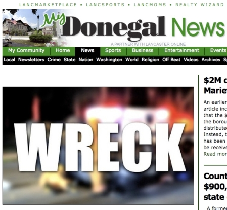 """Lancaster Newspapers' Donegal News Front Page, with """"WRECK"""" front and center."""